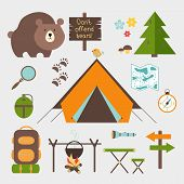 image of grizzly bear  - Vector icons forest camping set with a pine or fir tree  bear  map  tent with open flaps  rucksack or backpack  campfire  compass  water bottle  magnifying glass  paw prints  signpost  torch  table - JPG