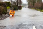 pic of flood  - A road in Ireland is blocked because of flooding - JPG