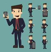 picture of caricatures  - Set of businessman show tablet and smart phone characters poses eps10 vector format - JPG