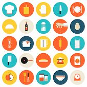stock photo of household  - Kitchen utensils and cookware flat icons set cooking tools and kitchenware equipment serve meals and food preparation elements - JPG