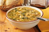 stock photo of kale  - A bowl of healthy white bean and kale soup