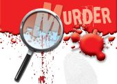 image of crime solving  - A landscape format illustration of blood spatters on a white background with a magnifying glass highlighting the word murder - JPG