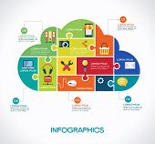 stock photo of social system  - cloud computing infographic Template with interface icons - JPG