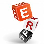image of enterprise  - vector 3d dice with word ERP Enterprise Resource Planning on white background - JPG