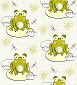 stock photo of baby frog  - Sweet seamless pattern with frogs and dragonflies - JPG