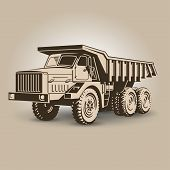 image of dumper  - The most biggest tip truck vector illustration - JPG
