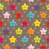 stock photo of kawaii  - Seamless background with a cute cartoon Kawaii stars pattern - JPG