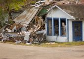stock photo of katrina  - Hurricane damage in Missippi during the Katrina hurricane of 2005 - JPG