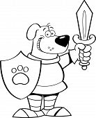 foto of armor suit  - Black and white illustration of a dog wearing a suit of armor - JPG