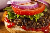pic of veggie burger  - Homemade Healthy Vegetarian Quinoa Burger with Lettuce and Tomato