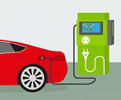 foto of fuel efficiency  - Vector illustration of charging red electric car - JPG