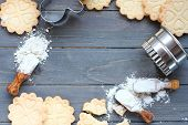 image of ingredient  - Background of baking gluten free shortbread cookies with utensils and ingredients viewed from above - JPG