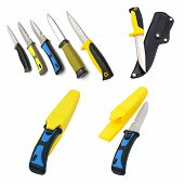 pic of spearfishing  - Hunting and diving knifes on a white background - JPG