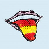 stock photo of tongue  - Spanish flag tongue - JPG