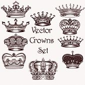 pic of vintage jewelry  - Vector set of crowns for your heraldic design - JPG