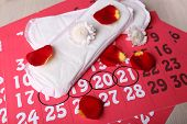 image of menses  - Sanitary pads and rose petals on calendar background - JPG