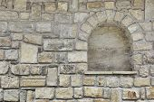 foto of niche  - Old Stone Wall with Niche - JPG