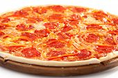 stock photo of salami  - Pizza with Salami and Tomatoes - JPG