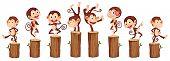 stock photo of monkeys  - illustration of many monkeys on the log - JPG