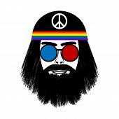 picture of hippy  - Hippie face icon on white background - JPG