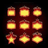 foto of marquee  - Retro illuminated movie marquee vector set 01 - JPG