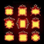 image of marquee  - Retro illuminated movie marquee vector set 06 - JPG