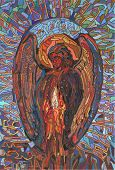 picture of christmas angel  - christmas angel with candle in stained glass style - JPG