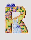 Ceramic toy letter R poster
