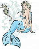 picture of seahorses  - Sitting mermaid and seahorse - JPG