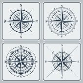 foto of compasses  - Set of compass roses or windroses  - JPG