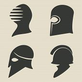 stock photo of sparta  - helmet icon set  - JPG