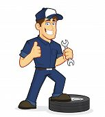 foto of cartoon character  - Clipart picture of an auto mechanic cartoon character - JPG