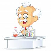 foto of physicist  - Vector Picture of a Professor Cartoon Character in the Laboratory - JPG