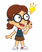image of dork  - Clipart Picture of a Girl Geek Cartoon Character Creative Idea - JPG