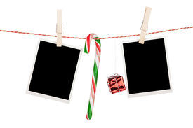 pic of candy cane border  - Blank photo frames and candy cane hanging on the clothesline - JPG