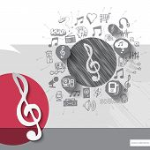 pic of clefs  - Hand drawn treble clef icons with icons background - JPG