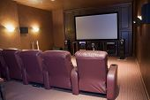 image of home theater  - home theater media room with 4 chairs - JPG
