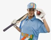 picture of cricket bat  - Portrait of a female cricketer holding a cricket bat and a ball - JPG