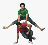 picture of legs apart  - Two university students playing leapfrog - JPG