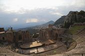 stock photo of messina  - Tourists at ancient Greek theatre - JPG