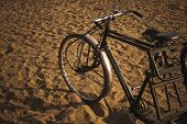 foto of rickshaw  - Cycle rickshaw on sand - JPG