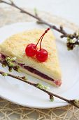 image of bonaparte  - Napoleon cake with cherries on a plate - JPG