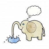 stock photo of squirt  - cartoon elephant squirting water with thought bubble - JPG