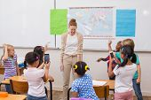 image of pupils  - Naughty pupils in class at the elementary school - JPG