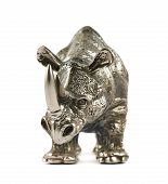 picture of metal sculpture  - Rhinoceros rhino sculpture made of cast metal isolated over white background - JPG