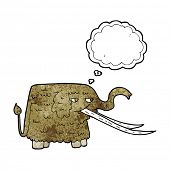 foto of mammoth  - cartoon woolly mammoth with thought bubble - JPG