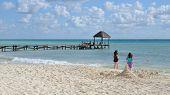 stock photo of children beach  - Children on the beach of Riviera Maya in Mexico - JPG