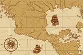 pic of kraken  - old map with a compass and ships in yellow - JPG