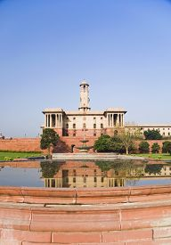 image of rashtrapati  - Reflection of a government building in water - JPG