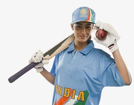 pic of cricket shots  - Portrait of a female cricketer holding a cricket bat and a ball - JPG